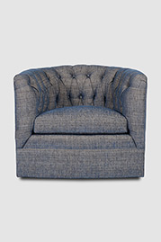 Oliver tufted barrel chair in Vermillion Denim fabric