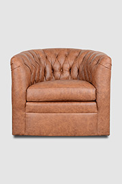 Oliver tufted barrel chair in leather