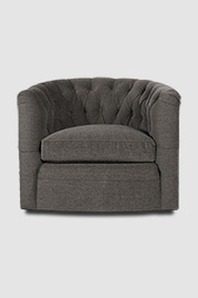 Oliver tufted barrel chair with swivel base in Stanton Soapstone grey stain-proof fabric