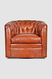 Oliver tufted barrel chair with swivel in Mont Blanc Amber leather