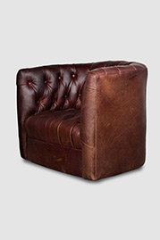 Oliver tufted barrel chair in Berkshire Bourbon leather