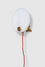 Discus plug-in wall sconce with red cord