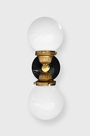 Grand Central solid brass wall sconce with black porcelain wall plate