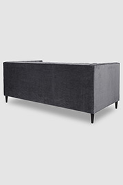 Harley channel-tufted shelter arm sofa in Como Dark Grey velvet with bench cushion and wood dowel legs