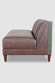 Harley channel-tufted armless sofa in Saloon Dark Brown leather and Martexin Olive waxed canvas