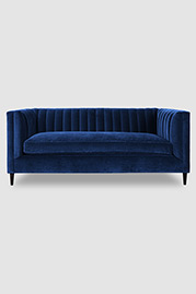 Harley channel-tufted shelter arm sofa in Como Indigo velvet with bench cushion and wood dowel legs