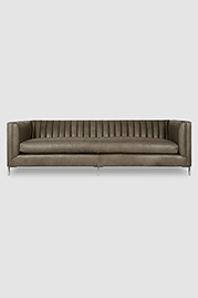 Harley channel-tufted shelter arm sofa in Dakota Putty leather with bench cushion and stainless steel legs