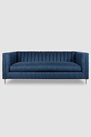 Harley channel-tufted shelter arm sofa in LUUM Marl Cloth Sea Nomad (special order COM) fabric with stiletto brass legs