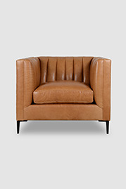 Harley channel-tufted armchair in Mont Blanc Sycamore leather with black metal legs