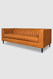 Harley channel-tufted modern sofa in Dakota Modern Saddle leather with bench cushion