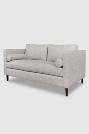 Natalie midcentury modern sofa in Minetta Linen performance fabric with optional bolster pillows