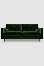 Natalie midcentury modern sofa in Lafayette Green Grass performance velvet with optional bolster pillows