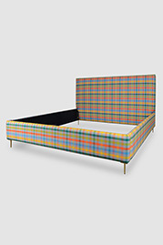 Gloria king-sized bed in Connect Fusion stain-proof fabric with brass legs