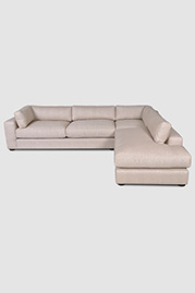 Chad sectional in Chartres Flax stain-proof fabric