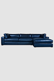 Chad sofa+chaise in Papillon Ink leather