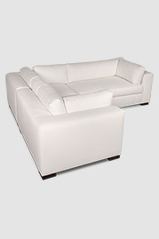 Chad sectional sofa in white fabric