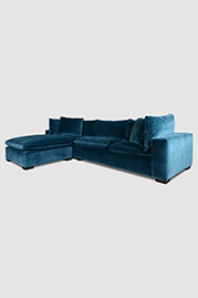 Wendy cloud sectional in Como Dragonfly blue green velvet