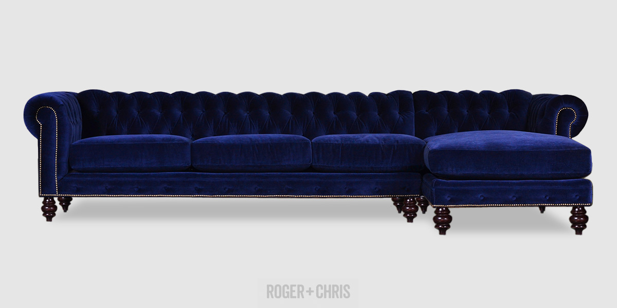 Blue velvet Chesterfield sectional sofa with chaise : tuxedo sectional sofa - Sectionals, Sofas & Couches