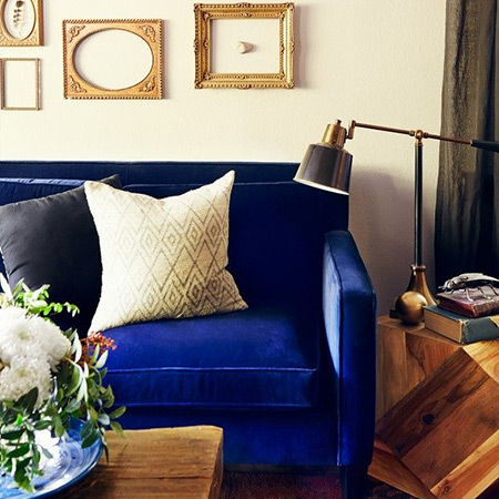 Wonderful Blue Velvet Track Arm Sofa