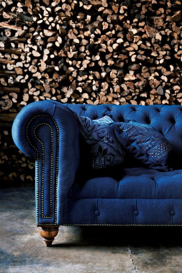 Indigo Blue Velvet Chesterfield Couch