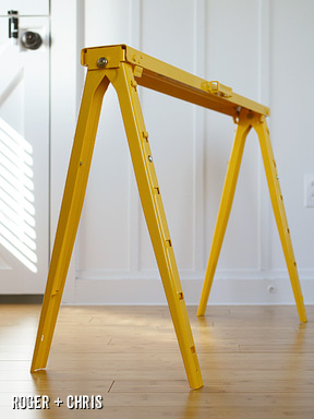 These metal sawhorses are just asking to be made into a Sawhorse desk legs