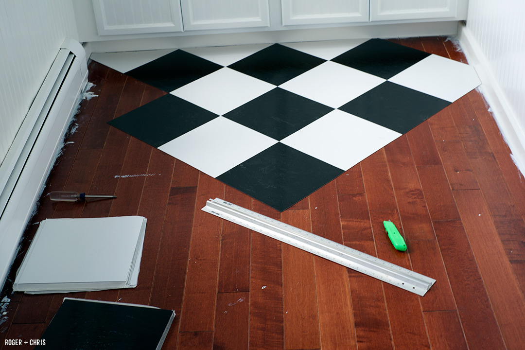 New floor tiles cover the ugly laminate.