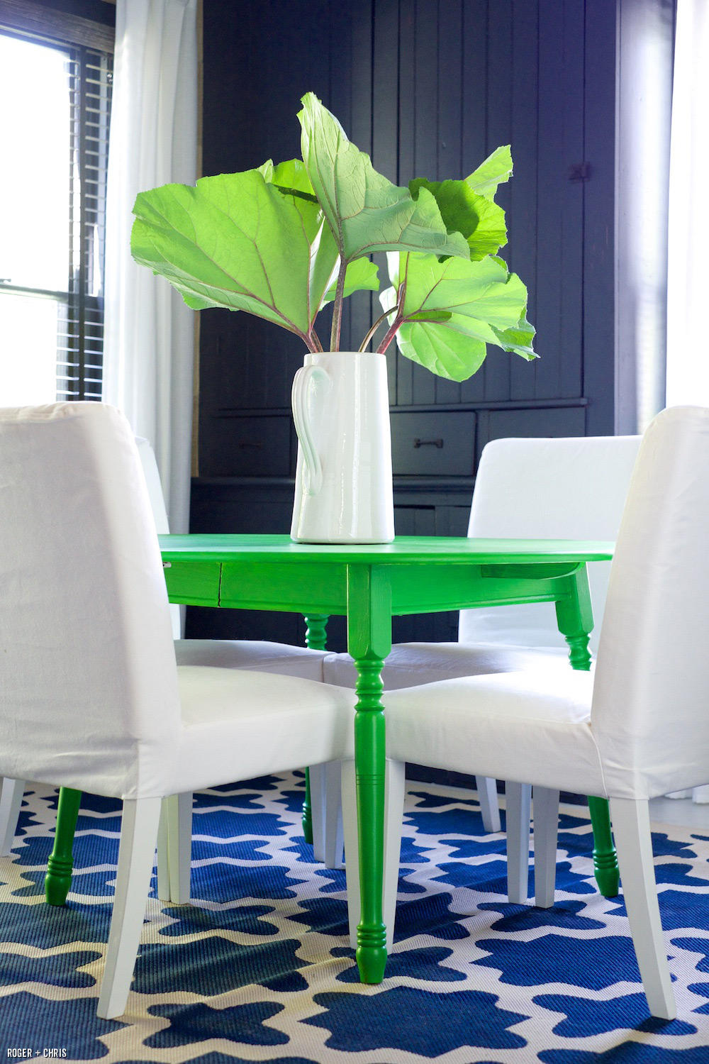 Roger painted this vintage table a bold green.