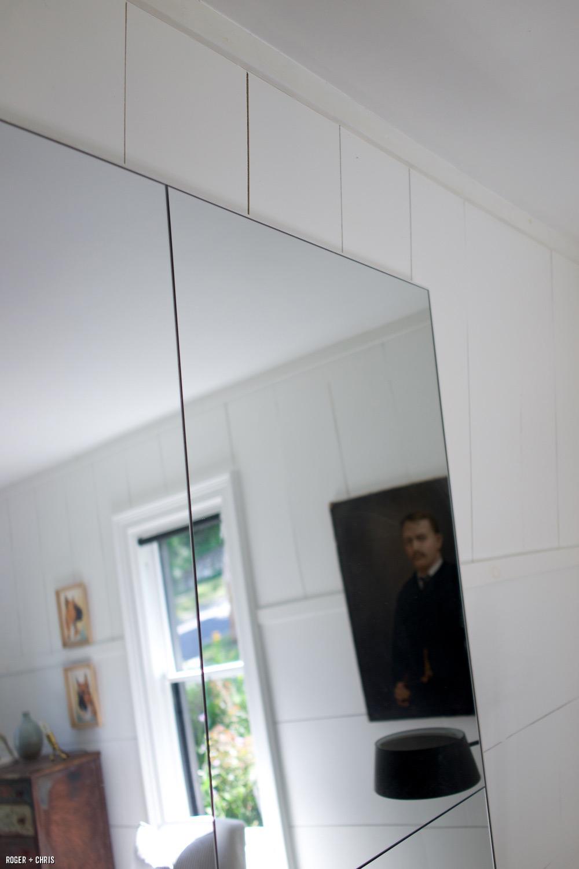 built a huge floor mirror using inexpensive bathroom mirrors, plywood ...