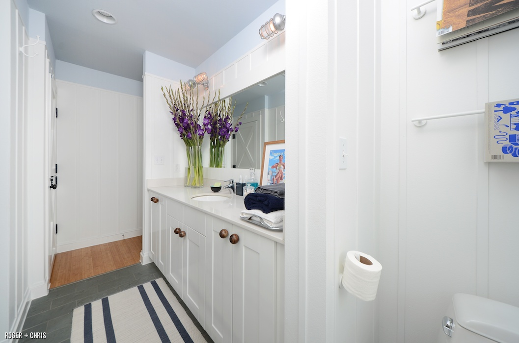 The Modern Farmhouses Master Bathroom Includes A Large Walk In Closet And Blue Green Slate Floors We Made Most Of Space Terms Both