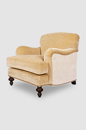 Basel armchair in custom fabric with nail head trim