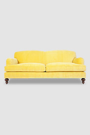 Basel tight back English roll arm sofa in Como Sunnyside yellow velvet