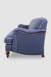 Basel tight back English roll arm sofa in Fulton Lapis stain-proof blue fabric with contrasting welt in Fulton Oyster