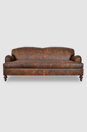 Basel tight back English roll arm sleeper sofa in Run Wyld performance leather