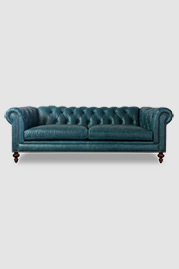 Higgins Chesterfield sofa in Florence Oceano stain-resistant blue leather