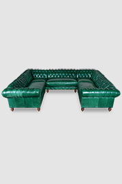 Higgins Chesterfield U sectional in Mont Blanc Emerald green leather