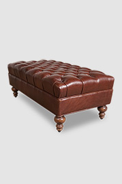 Dagmar ottoman in brown leather