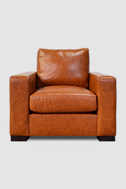 Cole armchair in Everlast Leverage brown performance leather