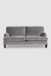 Blythe pillow back English roll arm sofa in Cannes Grey Cloud velvet
