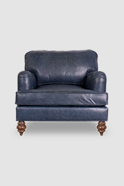 Blythe armchair in Everlast Blue Guard performance leather