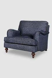 Blythe English roll arm chair in Stanton Ink blue performance fabric