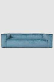 Johnny sofa in Gramercy Fiji stain-proof blue velvet with reversed seams