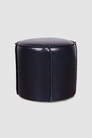 Rooster ottoman in blue leather