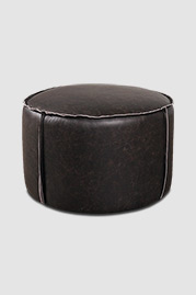 Rooster ottoman in Cheyenne Black Rock leather