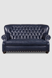 Eugene sofa in blue leather with bench cushion