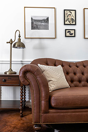 Watson sofa in Brisa Distressed Bridle faux leather at <a href=