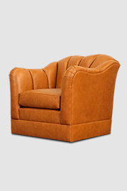 Carla armchair with swivel base in No Regrets Pure Cognac performance leather