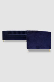 Harley sectional sofa in blue velvet with brass legs