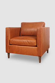 Natalie armchair in Harness Cuero brown leather