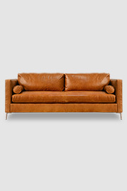 Natalie mid-century moden sofa in Caprieze Copper Glaze brown leather with aluminum legs and bolster pillows