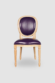 Louie in natural finish with purple leather seat